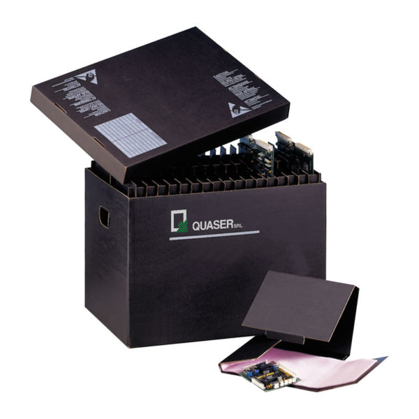 Black conductive cardboard boxes and dividers